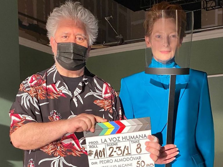 Pedro Almodóvar and Tilda Swinton while working together on the short drama 'The Human Voice.'