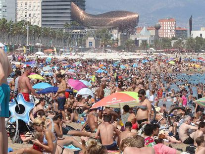 The scene at Barcelona's Barceloneta beach on Sunday.