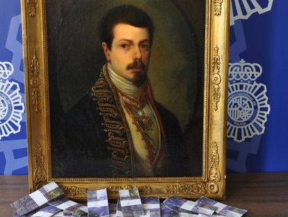 The fake Goya painting with the photocopied Swiss francs.