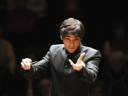 German conductor David Afkham during a concert.