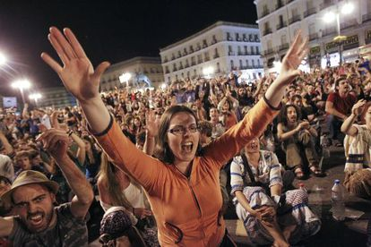 The scene at a 15-M movement demonstration in Madrid's Puerta del Sol.