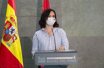 Acting Madrid premier Isabel Díaz Ayuso at an event in the capital this week.