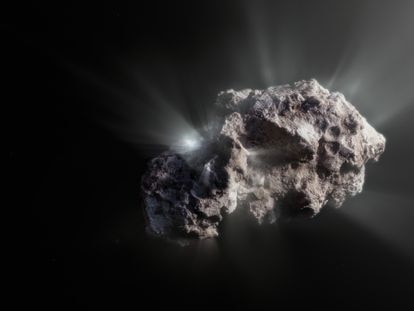 An illustration of what the comet 2I/Borisov looks like.