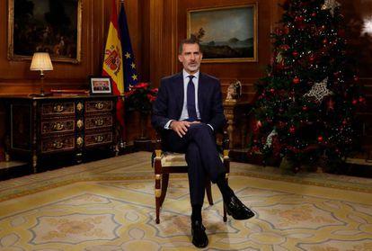 King Felipe VI delivers his Christmas address on December 24.