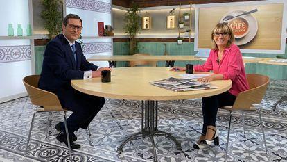 Antonio Garamendi being interviewed by Gemma Nierga on Thursday on RTVE