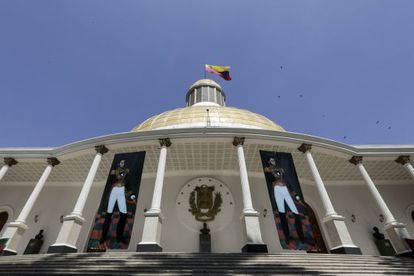 The entrance to the National Assembly building in Caracas.