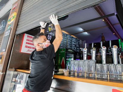 A bar in Gran Canaria preparing to reopen on Monday.