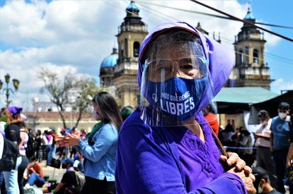 A protester at a march in Guatemala City on March 7, the eve of International Women's Day.