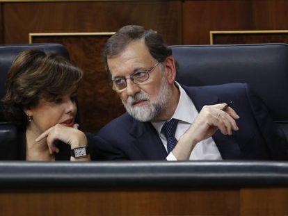Soraya Sáenz de Santamaría and Mariano Rajoy