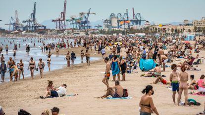 Malvarrosa beach in Valencia on Sunday.