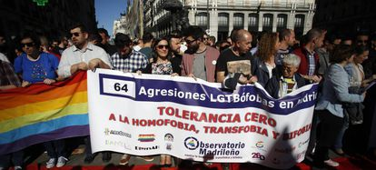 A file photo of a protest in Madrid against homophobic attacks.