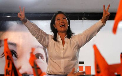 Keiko Fujimori greets her supporters.