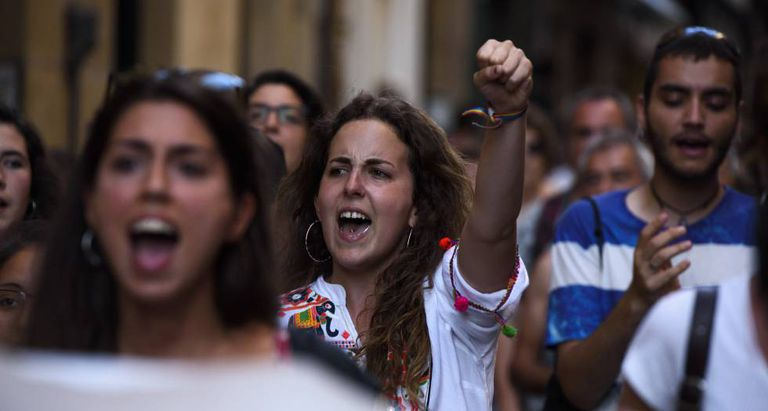 Protest in Pamplona after bail set for culprits of La Manada.