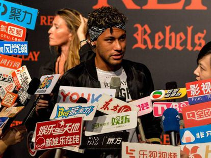 Neymar, during a publicity event in Shanghai.