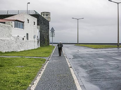 The Ponta Delgada jail where the only person to be arrested in this bizarre saga was held before he scaled the wall and fled on a Vespa.