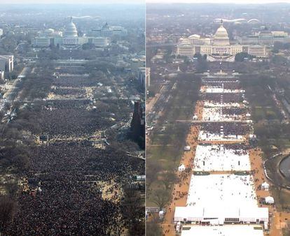 Left: the crowds at Barack Obama's inauguration in 2009. Right: the crowds at Donald Trump's inauguration in 2017.
