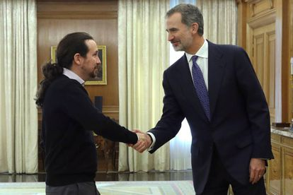 King Felipe VI during an audience with Pablo Iglesias of Podemos.