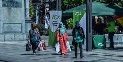 A Vox stand in Ceuta during the campaign for the May 26 election.