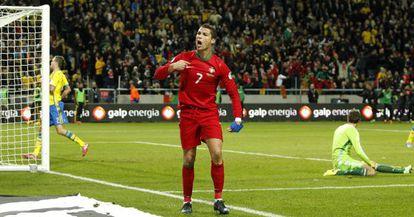 Cristiano Ronaldo celebrates one of his three goals against Sweden.