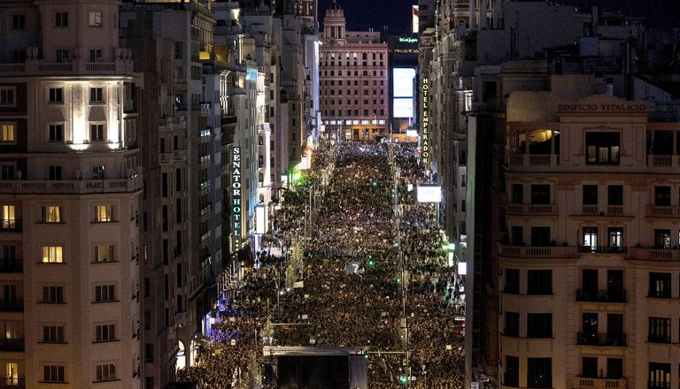 International Women's Day march in Madrid.