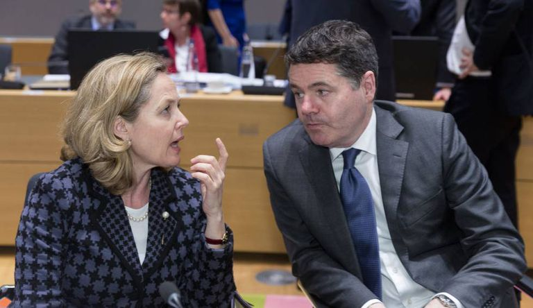 Spain's Nadia Calviño with Eurogroup president Paschal Donohoe at a meeting in Brussels in 2019.