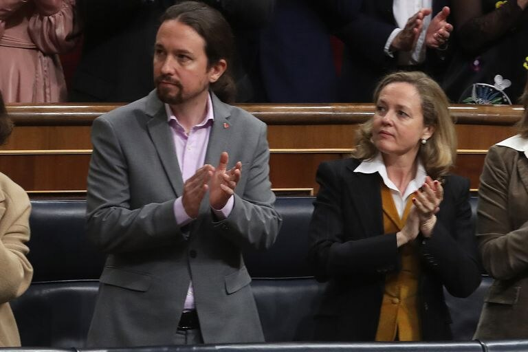 Unidas Podemos leader Pablo Iglesias and Finance Minister Nadia Calviño in Congress in February.