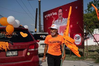 Supporters of Movimiento Ciudadano at an event in Santa Catarina, Nuevo León.