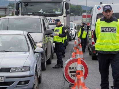 French police control the border near the Basque town of Irun.