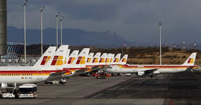 Iberia has been hit by the fall off in traffic through Madrid's Barajas airport.