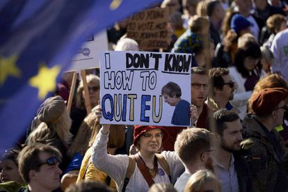 People protest against Brexit in London.