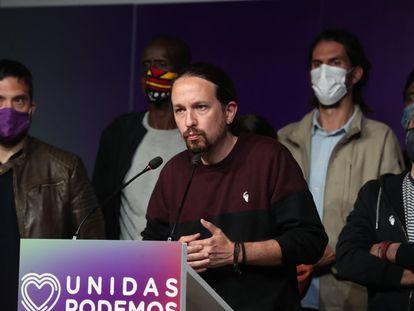 Unidas Podemos leader Pablo Iglesias on election night.
