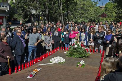 Relatives of the victims of the Yak-42 crash at the service on Sunday.