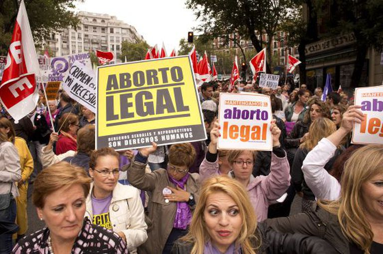A demonstration in Madrid earlier this year in support of abortion on demand.