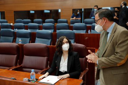 Madrid premier Isabel Díaz Ayuso at the regional parliament on Thursday.