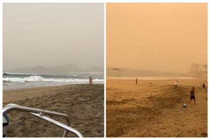 Images of the Las Canteras beach in Gran Canary taken two hours apart on Saturday.