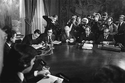 The signing of the Moncloa Pacts in 1977.