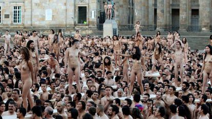 Thousands of people participate in Spencer Tunick photo project in downtown Bogotá, Colombia.