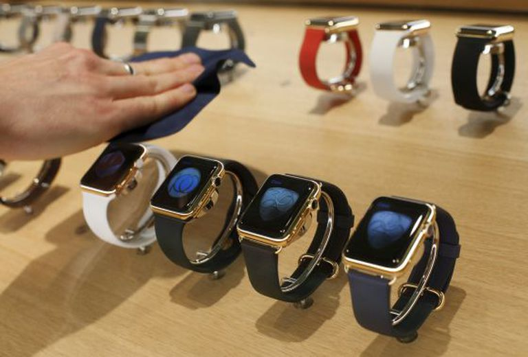 Apple Watch models at one of the company's stores.