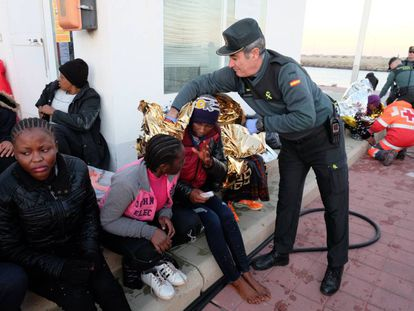 African migrants receiving assistance in Melilla.