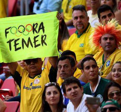 Opponents of interim president Michel Temer make their point.