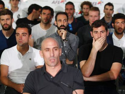Some of Spanish soccer's biggest names during the announcement of the strike last week.