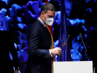 Spanish Prime Minister Pedro Sánchez at the opening of the IV Congress of the Ibero-American Business Alliance Council on Monday.