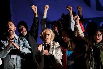 Ahora Madrid candidate for Madrid mayor, Manuela Carmena, celebrates with supporters on Sunday night.