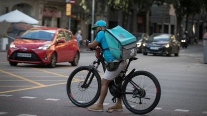 A Deliveroo rider in downtown Barcelona.