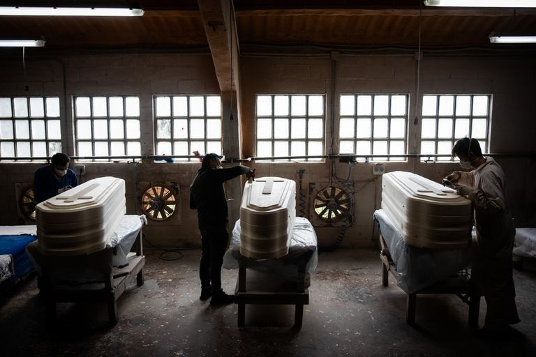 A coffin factory in Piñor, in the northwestern Spanish region of Galicia.