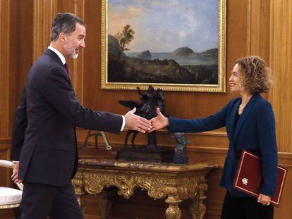 King Felipe VI and Congress speaker Meritxell Batet on Wednesday.