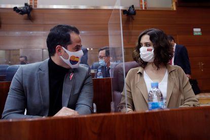 Madrid deputy premier Ignacio Aguado and premier Isabel Díaz Ayuso on Thursday.