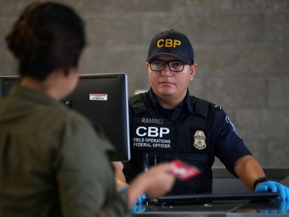 A US Customs and Border Agency officer in California.