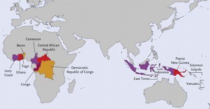 The 13 countries where yaws is endemic.