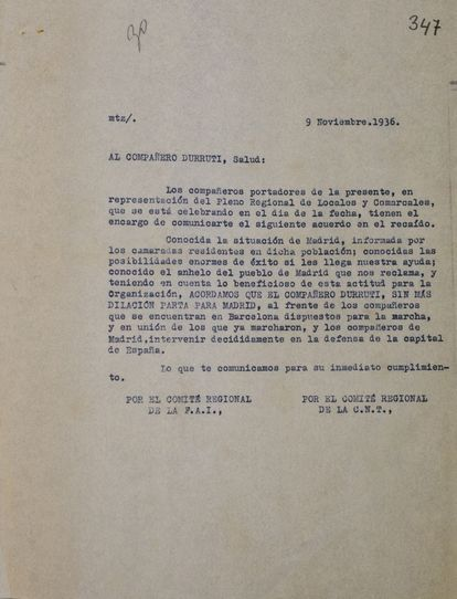 The document from the CNT-FAI ordering Durruti to depart for Madrid.